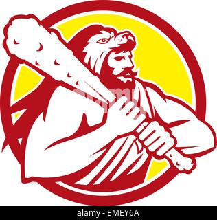 Hercules Lion Skin Wield Club Circle Retro - Stock Photo