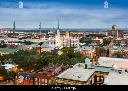 Savannah, Georgia, USA downtown at dusk. - Stock Photo