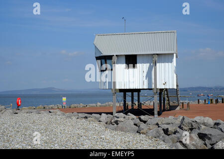 Morecambe and Heysham Yacht Club Race Office overlooks Morecambe Bay - Stock Photo