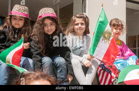 Spectators line Madison Avenue at the 12th annual Persian Parade in New York on Sunday, April 19, 2015. The parade - Stock Photo