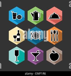 Food flat icons set illustration - Stock Photo