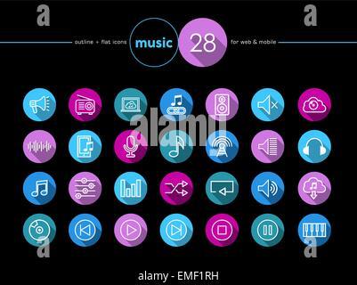 Music flat icons set - Stock Photo
