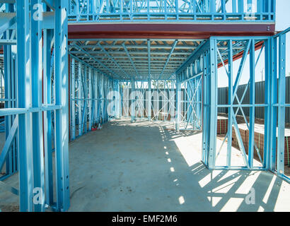 New home under construction using steel frames - Stock Photo