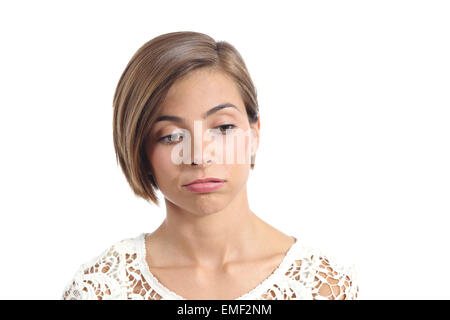 Portrait of a woman with bored expression isolated on a white background - Stock Photo