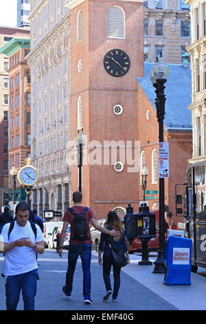 Boston Tea Party started at this Boston Freedom Trail landmark. The Old South Meeting House museum and historic - Stock Photo