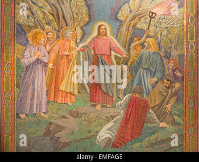 JERUSALEM, ISRAEL - MARCH 3, 2015: The mosaic of the arresting of Jesus in Gethsemane garden in The Church of All - Stock Photo