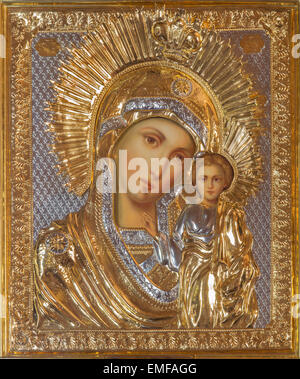 JERUSALEM, ISRAEL - MARCH 5, 2015: The icon of Madonna in Russian orthodox Church of Holy Mary of Magdalene - Stock Photo