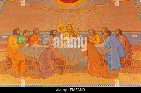 JERUSALEM, ISRAEL - MARCH 3, 2015: The last supper. Mosaic in Church of St. Peter in Gallicantu. - Stock Photo