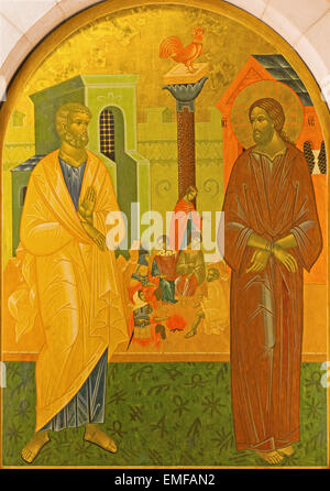 JERUSALEM, ISRAEL - MARCH 3, 2015: The Peter Disowns Jesus. Icon in Church of St. Peter in Gallicantu. - Stock Photo