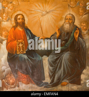 JERUSALEM, ISRAEL - MARCH 3, 2015: The Holy Trinity painting from Church of the Holy Sepulchre by unknown artist - Stock Photo