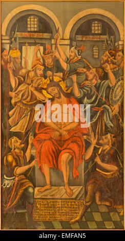JERUSALEM, ISRAEL - MARCH 3, 2015: The torture of Jesus paint from Church of the Holy Sepulchre from 17. cent. by - Stock Photo
