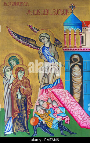 JERUSALEM, ISRAEL - MARCH 3, 2015: The icon of Resurrection from Church of the Holy Sepulchre by unknown artist. - Stock Photo