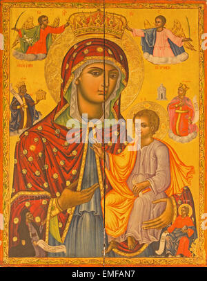 JERUSALEM, ISRAEL - MARCH 3, 2015: The Icon of Madonna from Church of the Holy Sepulchre. - Stock Photo