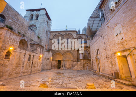 Jerusalem - Church of the Holy Sepulchre at dusk - Stock Photo