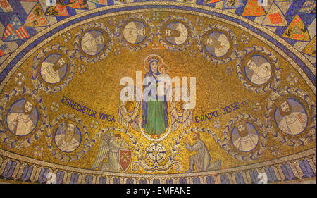 JERUSALEM, ISRAEL - MARCH 3, 2015: The mosaic of Madonna and with Twelve clans of Israel in Dormition abbey - Stock Photo