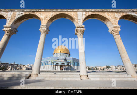 JERUSALEM, ISRAEL - MARCH 5, 2015: The Dom of Rock on the Temple Mount in the Old City. - Stock Photo