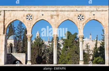 JERUSALEM, ISRAEL - MARCH 5, 2015: The look cross the west gate from the Temple Mount to in morning light - Stock Photo
