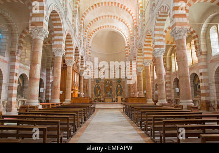JERUSALEM, ISRAEL - MARCH 5, 2015: The nave of Stephen church from 20. cent. - Stock Photo