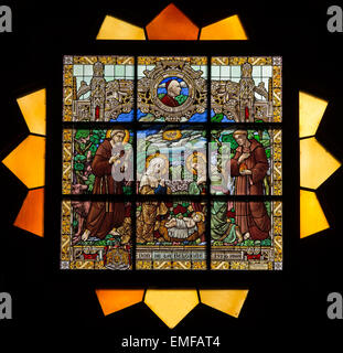 JERUSALEM, ISRAEL - MARCH 5 , 2015: The Nativty scene on the rosette in sanctuary of st. Catharine church - Stock Photo