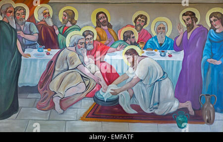 BETHLEHEM, ISRAEL - MARCH 6, 2015: The modern fresco of Feet washing at the last supper from 20.cent. in Syrian - Stock Photo
