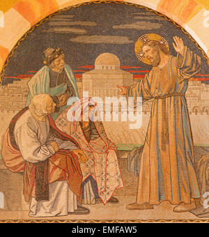 JERUSALEM, ISRAEL - MARCH 3, 2015: Jesus among the scribes. Mosaic on the chorus of Evangelical Lutheran Church - Stock Photo