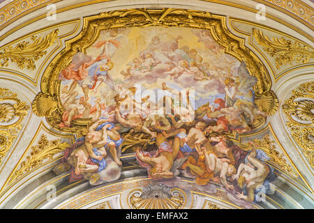 Rome - The ceiling fresco of The Fall of the Rebelious Angels in church Basilica dei Santi XII Apostoli - Stock Photo