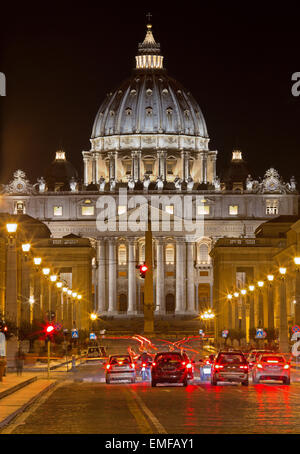 Rome - st. Peters basilica and street at night - Stock Photo