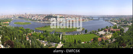 Istanbul city, Turkey. Panoramic view of Golden Horn from Eyup-Pierre Loti Point - Stock Photo