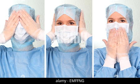 A female Doctor  hear see say  nothing - Stock Photo