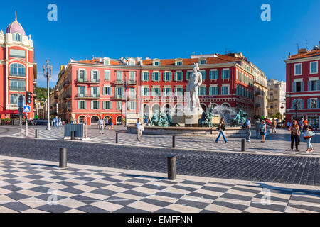 NICE, FRANCE - OCTOBER 2, 2014: View of Place Massena with Fountain of the Sun (Fontaine du Soleil) surrounded by - Stock Photo
