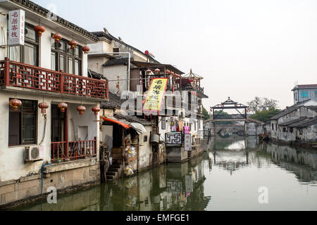 canal and folk houses in Tongli ancient town - Stock Photo