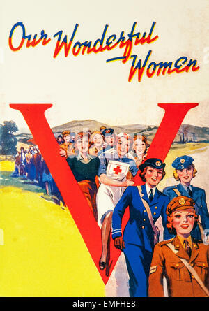 A World War 2 poster praising the importance of women - Stock Photo
