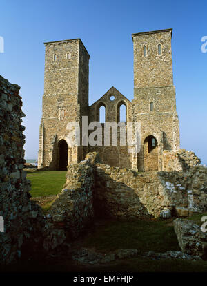 Twin towers from a late 12th century Norman church stand within the Roman fort of Regulbium, Reculver, Kent, England - Stock Photo