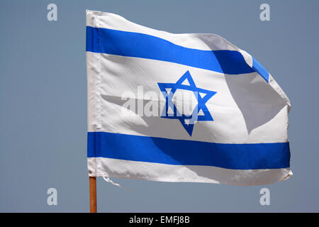 Israeli flag in the wind - Stock Photo