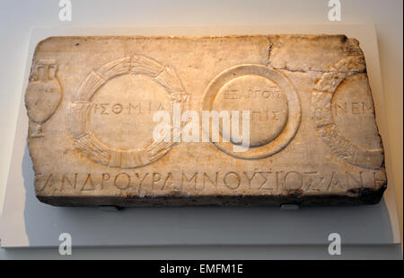Relief depicting athletic prizes. Roman. Mid-Imperial, Antonine, 2nd c. Amphora of olive from the Panathenaic  games, - Stock Photo