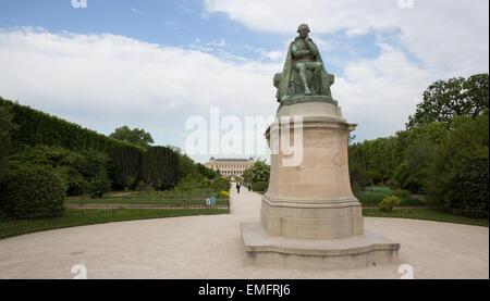 Bronze statue of biologist, naturalist, and academic Jean-Baptiste Lamarck by Léon Fagel at the Jardin des Plantes, - Stock Photo