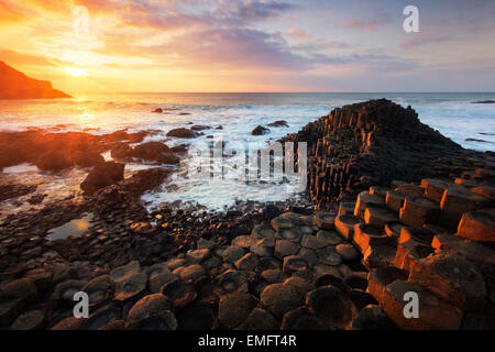 Glorious sunset at the Giant's Causeway, Co. Antrim, Northern Ireland, UK, - Stock Photo