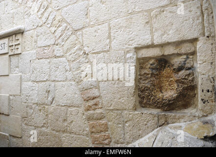 Israel. Jerusalem. Old City. Old City. V Station. Place of encounter between Jesus and Simon of Cyrene, the man - Stock Photo