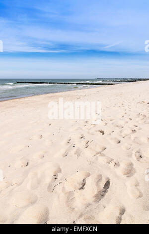 Picture of footprints in the sand on the empty beach of the Baltic Sea - Stock Photo