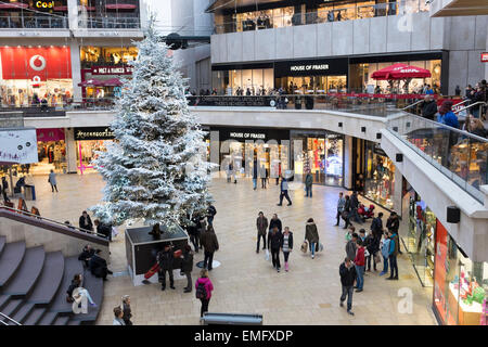 Carbot Circus Shopping Centre with Christmas decorations in Bristol, UK - Stock Photo