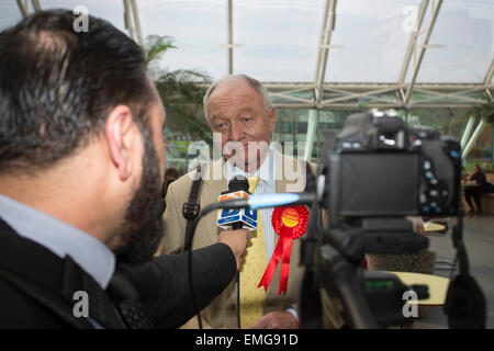 Bradford, West Yorkshire, UK, 20th Apr, 2015. Former Labour MP and Mayor of London Ken Livingstone in Bradford to - Stock Photo