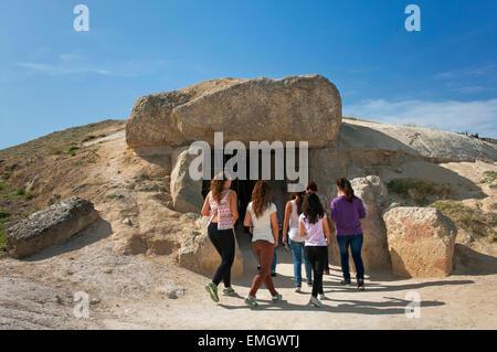 Dolmen - Cueva de Menga - entrance, Antequera, Malaga province, Region of Andalusia, Spain, Europe - Stock Photo