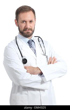 Friendly doctor man posing with folded arms isolated in a white background - Stock Photo