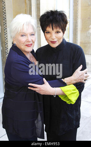 11.JULY.2011. LONDON  LINE RENAUD POSES WITH LIZA MINNELLI AFTER LIZA IS AWARDED WITH THE MEDAL OF OFFICER OF THE - Stock Photo