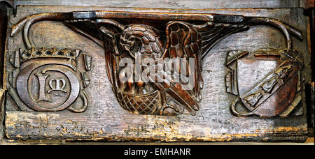 A 15th century misericord, depicting a Pelican feeding her chicks, All Saints Church, North Street, City of York, - Stock Photo