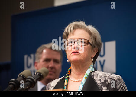 Manhattan, New York, USA. 20th Apr, 2015. KATHY WYLDE of the Partnership for Nerw York City speaks as City Council - Stock Photo