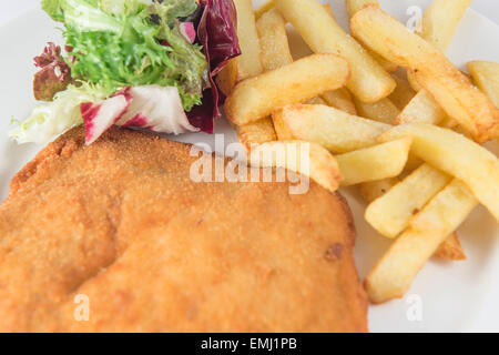 breaded steak with potatoes and salad - Stock Photo
