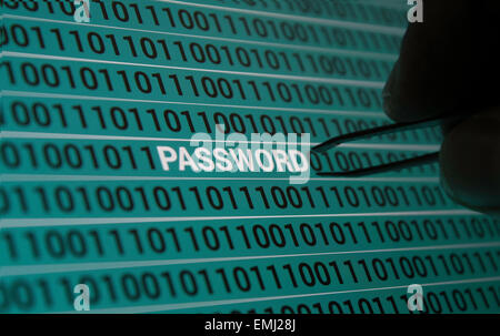 Password Retrieval!! human hand with tweezers on computer screen picking out password. Concept of hacking - Stock Photo