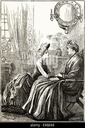 Woman talking to her mother in the family parlour sitting room. Victorian woodcut engraving dated 1890 - Stock Photo