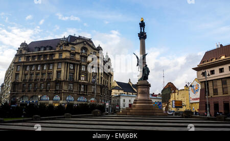 Lviv, Ukraine. 19th Apr, 2015. Monument of polish poet Adam Mickiewicz Credit:  Igor Golovnov/Alamy Live News - Stock Photo